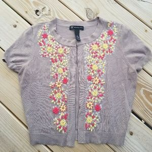 INC international concepts cropped floral cardigan